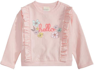 First Impressions Baby Girls Ruffled Hello Sweatshirt, Created for Macy's