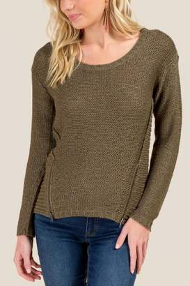 francesca's Vanessa Crew Neck Zip Sweater - Taupe