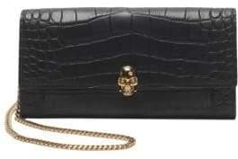 Alexander McQueen Croc-Embossed Leather Wallet-On-Chain