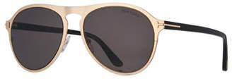 Tom Ford Bradbury Metal Aviator Sunglasses, Shiny Rose Gold/Shiny Black/Smoke