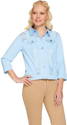 Joan Rivers Classics Collection Joan Rivers Cropped Lightweight Denim Jacket w/ Lace Detail