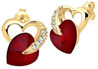 Elli Women's 925 Sterling Silver Xilion Cut Red Swarovski Crystal Pierced Heart Stud Earrings