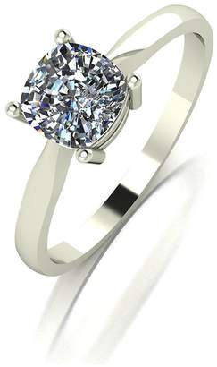 Moissanite 18 Carat White Gold 100pt Equivalent Cushion Cut Ring