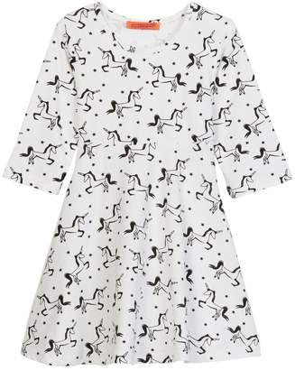 Funkyberry Unicorn Print Dress (Toddler & Little Girls)