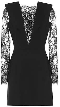 Alexander McQueen Lace-paneled wool-blend minidress