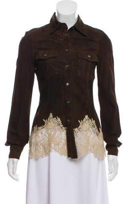 RED Valentino Suede Lace-Trimmed Jacket