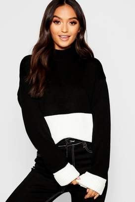 boohoo Petite Colour Block Turtle Neck Sweater