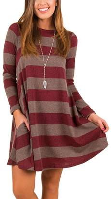 iBaste Women Wide Stripes Long Sleeves Round Neck Loose Fit Casual T Shirt Dress