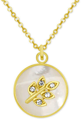 """Mother of Pearl Pixie Posey Gold-Tone Crystal Leaf Mother-of-Pearl 18"""" Pendant Necklace"""