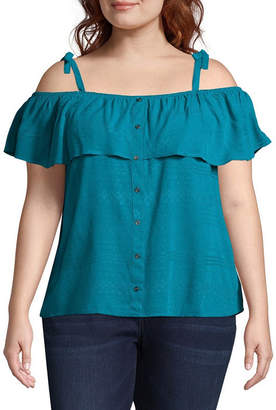 Boutique + + Cold Shoulder Woven Blouse - Plus