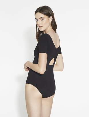 Halston Lauren Fine Rib Knit Bodysuit