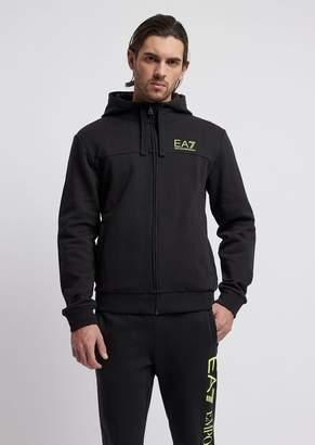 Emporio Armani Ea7 Stretch Cotton Sweatshirt With Hood And Rear Maxi Logo Print