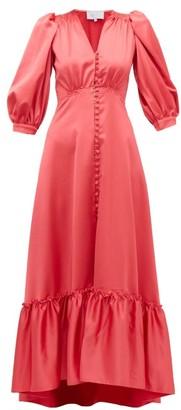 Luisa Beccaria V Neck Puff Sleeved Gathered Satin Dress - Womens - Dark Pink