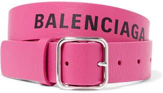 Balenciaga Everyday Printed Textured-leather Waist Belt - Pink