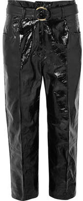 Petar Petrov Hollis Belted Patent-leather Straight-leg Pants - Black