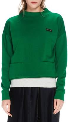 Scotch & Soda Mock Neck Crop Cotton Blend Sweatshirt