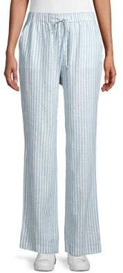 Joan Vass Striped Drawstring Linen Pants