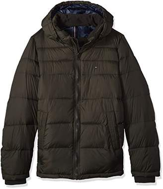 Tommy Hilfiger Men's Big Insulated Midlength Quilted Puffer Jacket with Fixed Hood