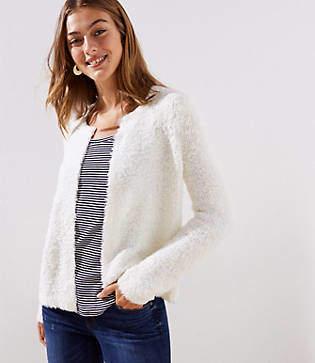 LOFT Fuzzy Open Sweater Jacket