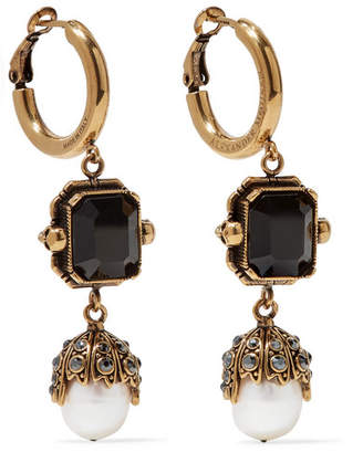 Alexander McQueen Gold-tone, Crystal And Pearl Earrings - one size