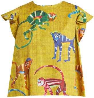 Monkey-print stretch-cotton top
