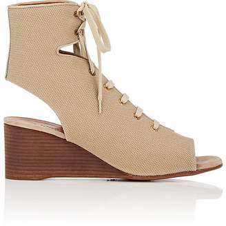Chloé WOMEN'S CANVAS WEDGE GLADIATOR SANDALS