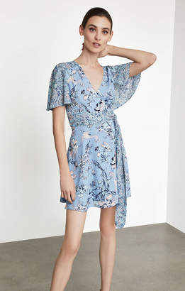 BCBGMAXAZRIA Kylie Floral Print-Blocked Wrap Dress