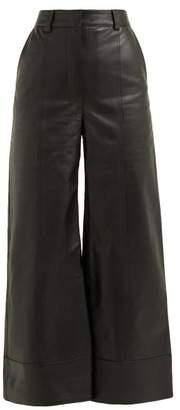 Dodo Bar Or Ivgenia High Rise Wide Leg Leather Trousers - Womens - Black