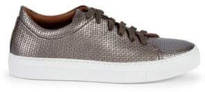 Aquatalia Avery Embossed Metallic-Leather Platform Sneakers