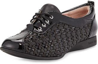 Taryn Rose Trudee Woven Leather Sneaker, Black $229 thestylecure.com