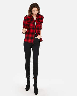 Express Red Plaid Flannel Boyfriend Shirt
