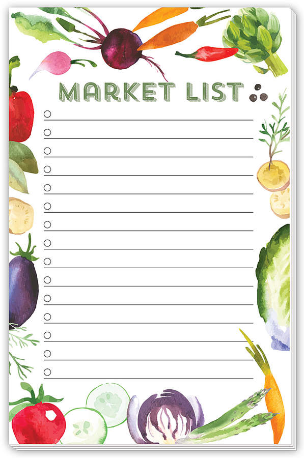 Vegetable 'Market List' Notepad