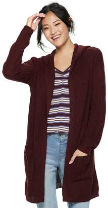 Almost Famous Juniors' Lace-Up Back Hooded Cardigan
