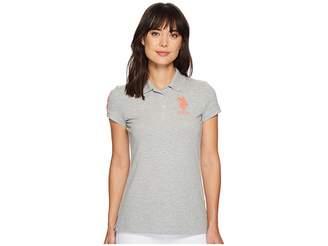 U.S. Polo Assn. Neon Logos Short Sleeve Polo Shirt Women's Short Sleeve Knit