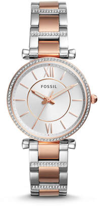 Fossil Carlie Three-Hand Two-Tone Stainless Steel Watch