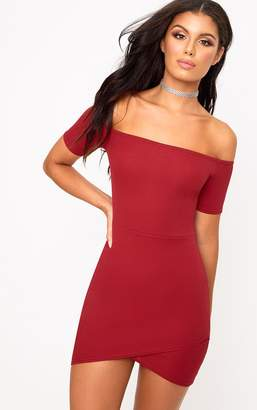 PrettyLittleThing Burgundy Bardot Wrap Skirt Bodycon Dress