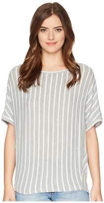 Michael Stars Madison Brushed Stripe Elbow Sleeve Boat Neck Women's Clothing