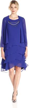 SL Fashions Women's 3/4 Sleeve Necklace Trim Tiered Skirt Jacket Dress