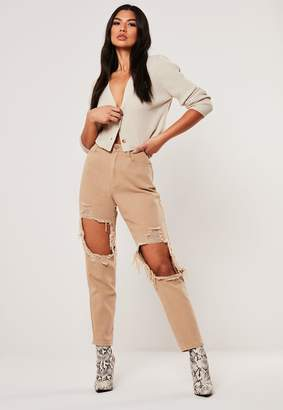 Missguided Tan Highwaisted Distressed Jeans