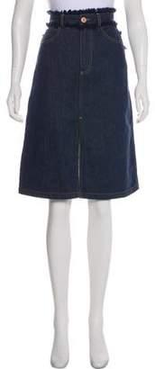 See by Chloe Fringe-Trimmed Denim Skirt