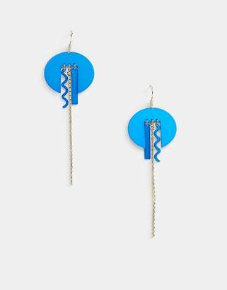 Asos DESIGN earrings in abstract shapes with crystal strand
