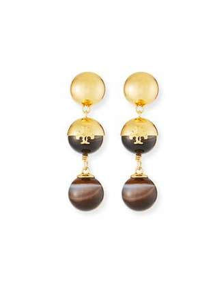 Tory Burch Logo Linear Bead Drop Earrings with Agate