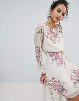 Miss Selfridge High Neck Floral Mini Dress