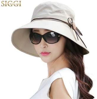 Siggi NOT Foldable Bucket Cord Sun Summer Beach Hat with Wide Brim for Women UPF50+ Khaki