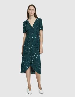 Hunter Farrow Elsa Polka-Dot Wrap Dress in Green