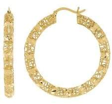 Lord & Taylor 14K Yellow Gold Hollow Round Hoop Earrings