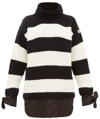 Moncler Layered Effect Roll Neck Virgin Wool Sweater - Womens - Black White