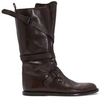 Ann Demeulemeester Aged Effect Leather Boots - Womens - Dark Brown