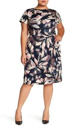 London Times Printed Ponte Sheath Dress (Plus Size)