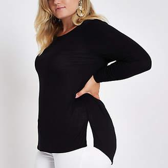 River Island Womens Plus Black long sleeve jersey T-shirt